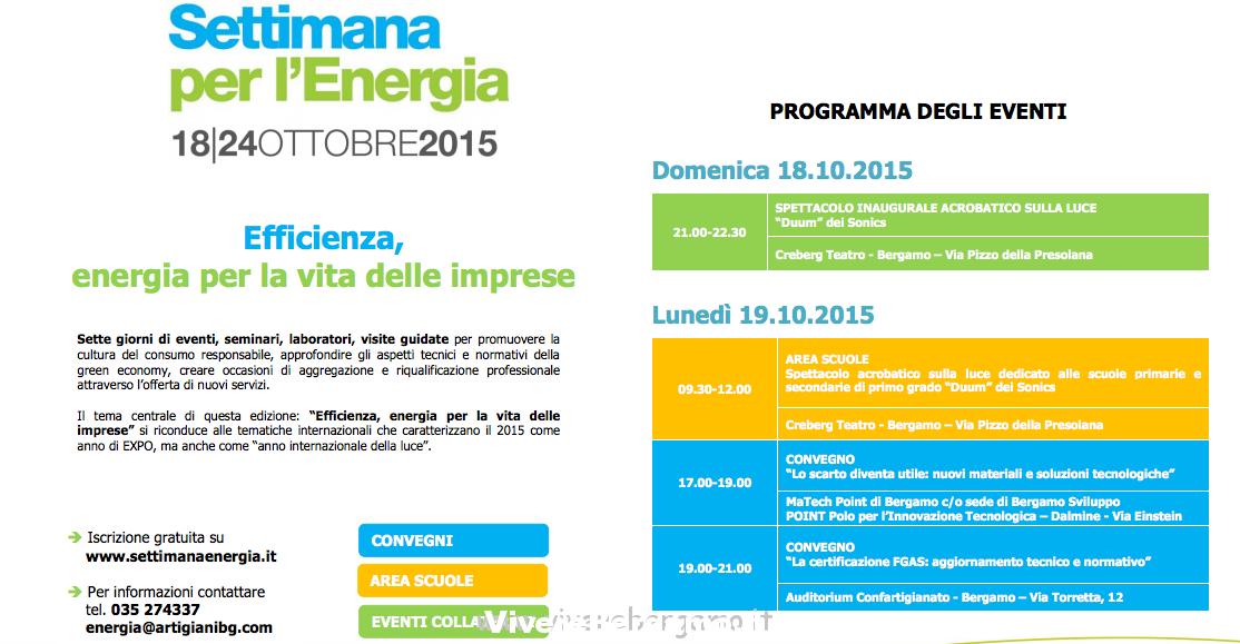 Settimana per l' Energia dal 18 al 24 a Bergamo